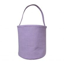Classic Gingham Easter Bucket Tote - PURPLE - CLOSEOUT