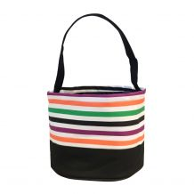 Monogrammable Easter Basket & Halloween Bucket Tote - MULTI-STRIPE - CLOSEOUT