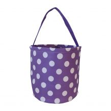 Monogrammable Easter Basket & Halloween Bucket Tote - PURPLE POLKA DOT - CLOSEOUT