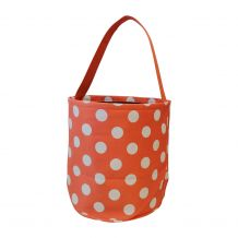 Monogrammable Easter Basket & Halloween Bucket Tote - ORANGE POLKA DOT - CLOSEOUT