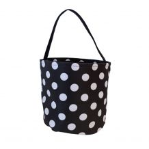 Monogrammable Easter Basket & Halloween Bucket Tote - BLACK POLKA DOT - CLOSEOUT