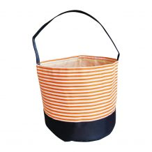 Monogrammable Easter Basket & Halloween Bucket Tote - ORANGE STRIPE - CLOSEOUT