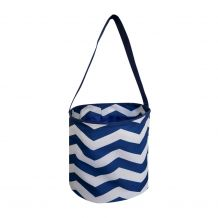 Monogrammable Easter Basket & Halloween Bucket Tote - NAVY CHEVRON - CLOSEOUT
