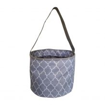 Monogrammable Easter Basket & Halloween Bucket Tote - GRAY QUATREFOIL - CLOSEOUT