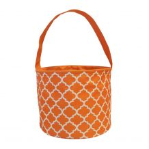 Monogrammable Easter Basket & Halloween Bucket Tote - ORANGE QUATREFOIL - CLOSEOUT