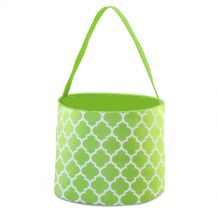 Monogrammable Easter Basket & Halloween Bucket Tote - LIME QUATREFOIL - CLOSEOUT