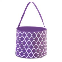 Monogrammable Easter Basket & Halloween Bucket Tote - PURPLE QUATREFOIL - CLOSEOUT