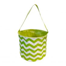 Monogrammable Easter Basket & Halloween Bucket Tote - LIME CHEVRON - CLOSEOUT