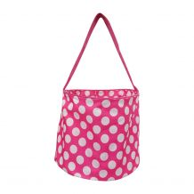 Monogrammable Easter Basket & Halloween Bucket Tote - PINK DOT - CLOSEOUT