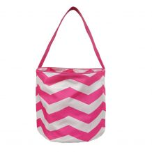 Monogrammable Easter Basket & Halloween Bucket Tote - HOT PINK CHEVRON - CLOSEOUT