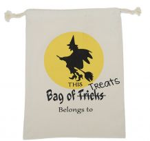 Flying Witch Canvas Halloween Treat Bag - CLOSEOUT