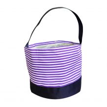 Monogrammable Easter Basket & Halloween Bucket Tote - PURPLE STRIPE - CLOSEOUT