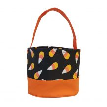 Monogrammable Halloween Bucket Tote - CANDY CORN - CLOSEOUT