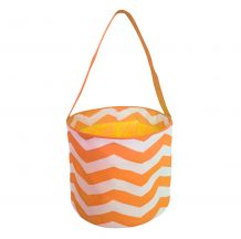 Monogrammable Easter Basket & Halloween Bucket Tote - ORANGE  CHEVRON - CLOSEOUT