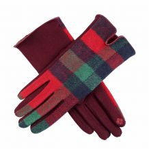 Designer-Look Touchscreen Gloves - RED/GREEN PLAID - CLOSEOUT