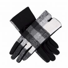 Designer-Look Touchscreen Gloves - WHITE/BLACK PLAID - CLOSEOUT