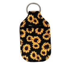 Neoprene Hand Sanitizer Holder for 1.0oz/30ml Bottles - SUNFLOWERS - BLACK
