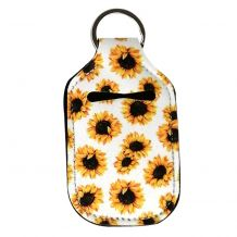 Neoprene Hand Sanitizer Holder for 1.0oz/30ml Bottles - SUNFLOWERS - WHITE