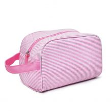 The Coral Palms® Simply Seersucker Travel Cosmetic Bag - PINK