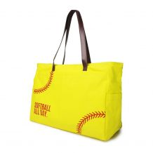 The Coral Palms® Softball All Day Super Pouch Carryall Canvas Softball Tote