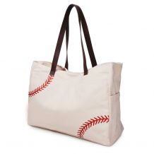 The Coral Palms� Laces Only Super Pouch Carryall Canvas Baseball Tote