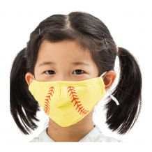 Kids 4-Layer Cotton Mask - Includes 1 Replaceable PM2.5 Filter and Adjustable Ear Straps - SOFTBALL