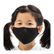 Kids 4-Layer Cotton Mask - Includes 1 Replaceable PM2.5 Filter and Adjustable Ear Straps - BLACK