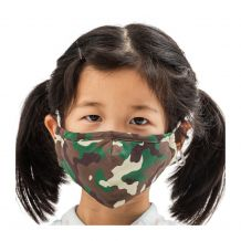 Kids 4-Layer Cotton Mask - Includes 1 Replaceable PM2.5 Filter and Adjustable Ear Straps - CAMO
