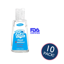 FDA Certified Portable Travel-Sized Hand Sanitizer Bottle 30ml - 10/pack