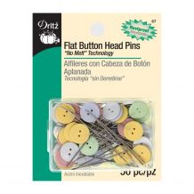 Dritz Flat Button Head Rustproof No Melt Pins - 50/pk