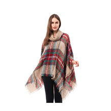 Classic Plaid Turtleneck Poncho Pullover with Fringed Edges