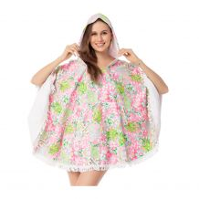 The Coral Palms� Towelcho Fringed Towel Poncho Swim Cover-Up - PINEAPPLE CRUSH