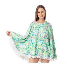 The Coral Palms� Towelcho Fringed Towel Poncho Swim Cover-Up - ALOHA PARADISE