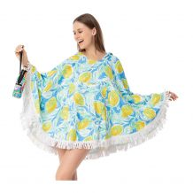 The Coral Palms� Towelcho Fringed Towel Poncho Swim Cover-Up - LEMONADE SPLASH
