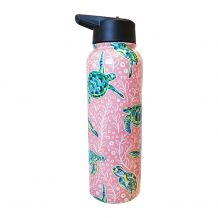 The Coral Palms� 40oz Double Wall Stainless Steel Water Bottle - SOLELY SEA TURTLES