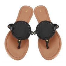 The Coral Palms® EasyStitch Medallion Sandals - BLACK - CLOSEOUT
