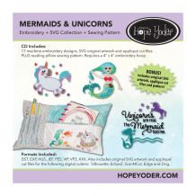 Mermaids and Unicorns Applique Embroidery Design + SVG Collection + Sewing Pattern CD-ROM by Hope Yoder