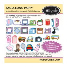 Tag-A-Long Party In-the-Hoop Embroidery Design + SVG Collection CD-ROM by Hope Yoder