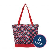 Times Square Print Tote Bag in Red Trim - 6/pk