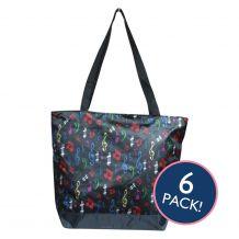 Musical Notes Print Tote Bag in Black Trim - 6/pk