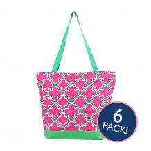 Quatrefoil Print Tote Bag in Hot Pink/Green Trim - 6/pk