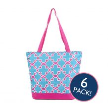 Quatrefoil Print Tote Bag in Turquoise/Hot Pink Trim - 6/pk