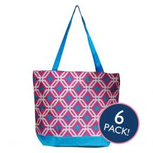 Graphic Print Tote Bag in Hot Pink/Turquoise Trim - 6/pk
