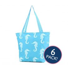 Seahorse Print Tote Bag in Turquoise - 6/pk
