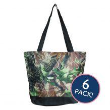 Natural Camo Print Tote Bag in Black Trim - 6/pk