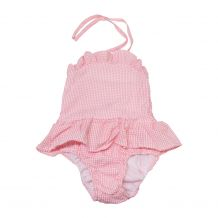 The Coral Palms� Blank Girls Ruffle Gingham One Piece Swimsuit - PINK - CLOSEOUT