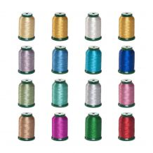 KingStar Metallic Embroidery Thread - 1000m Spool - 16 Spool Kit