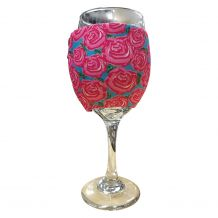 The Coral Palms® EasyStitch Zipper Wrap-Around Wine Glass Coolie - RADIANT ROSES - CLOSEOUT