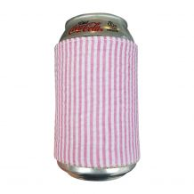 The Coral Palms® Reversible Seersucker & Jute 12oz Velcro Can Wrap - HOT PINK - CLOSEOUT