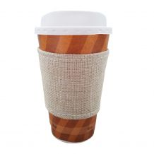 The Coral Palms® Jute Burlap Velcro Coffee Sleeve Wrap Coolie Embroidery Blanks - CLOSEOUT